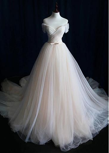 [183.50] Alluring Tulle Off-the-shoulder Neckline A-line Marriage ceremony Costume With Belt
