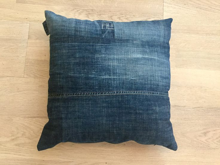 Decorative denim cushion pillow case,ooak,recycled jeans cushion,upcycled denim,repurposed materials,cottage style floor cushion by denimize on Etsy