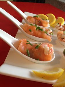Appetizer with shrimp and salmon