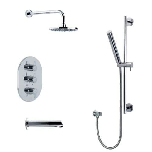 Nameeks US-3345D Ramon Soler Tub and Shower Package with Shower Head, Handshower with Hose, Slide Bar, Tub Spout, and Rough-In, Silver stainless steel