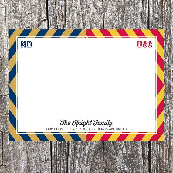 A House Divided - University of Notre Dame vs University of Southern California - Custom Personalized 10 Piece Stationery Set #ND #USC #football