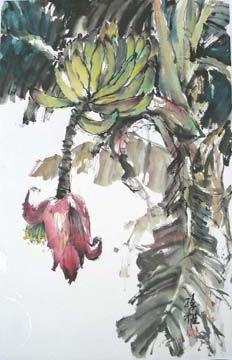 Banana Tree (Spontaneous Style) - Lian Quan Zhen (Chinese-American,Watercolorist,)