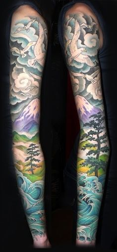 Gorgeous nature themed sleeve by Andrea at Slave to the Needle in Seattle WA