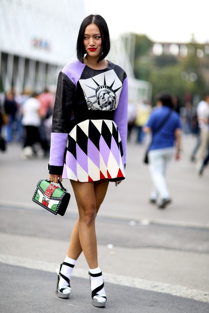 street style: Milan Fashion Week Spring 2015...Nice Angled Bob - absolutely NOT wearing the dress, but the handbag is a keeper ~