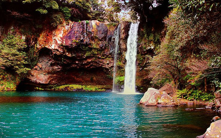 Waterfall on Jeju Island, Korea
