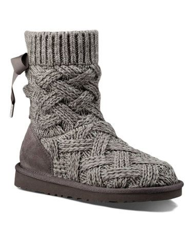 UGG Girls Lottie Boot Heathered Charcoal Size 6 M US Big Kid: Suede leather  heel guard for added durability. Corset-tied back.