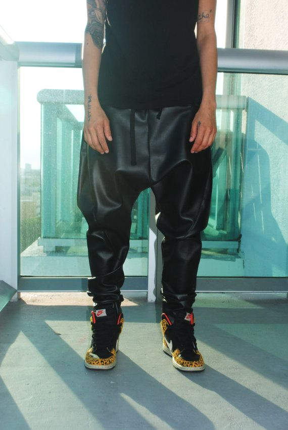 Black Faux leather Drop crotch pants for men by GAGONTHISTHREADS, $65.00