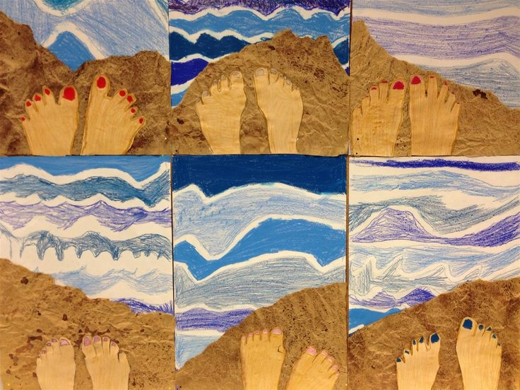 feet selfie using crumpled paper for sand, splatter paint for sand, draw feet, and wavy lines for ocean. www.opeope.fi