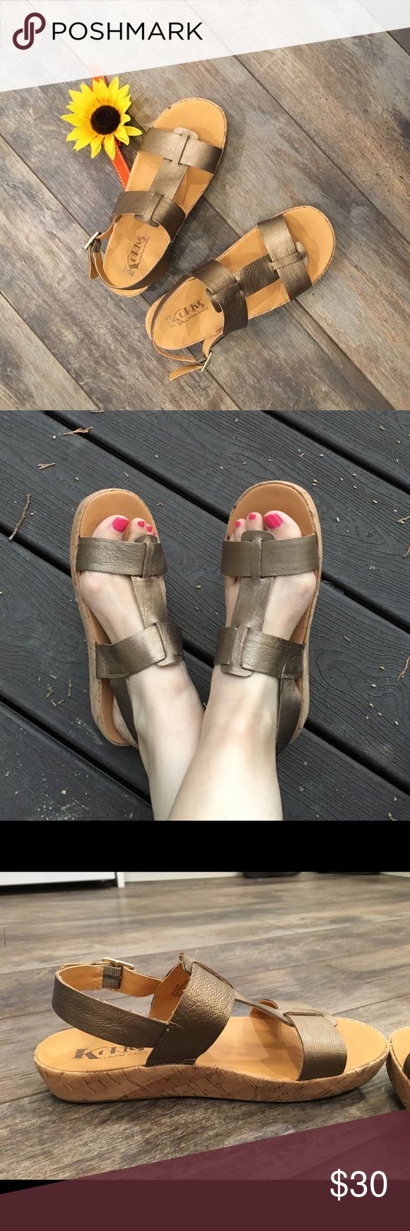 "♦️SANDAL SALE♦️Korks sandals Korks by Kork-Ease sandals.  1"" flat-form soles.  Bronze leather straps secured with gold-tone buckle.  Barely worn.  Stamped as size 7/38. Korks by Kork-Ease Shoes Sandals"