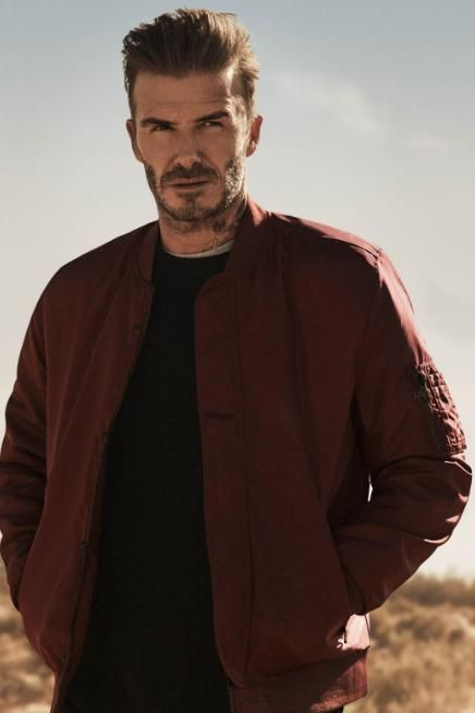 David Beckham wearing H&m Pilot Jacket