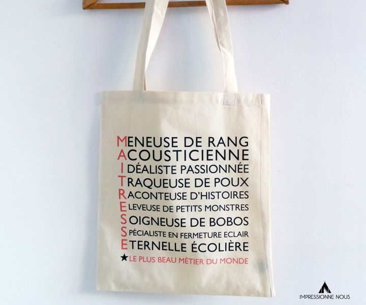 Tote-bag Maîtresse via Impressionne nous. Click on the image to see more!