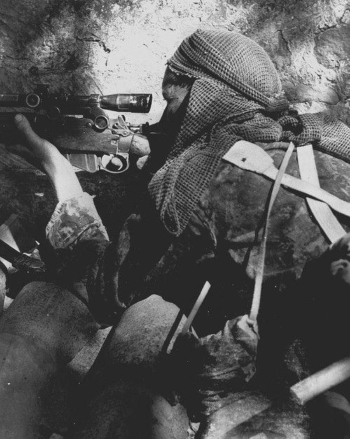 Private L.V. Hughes, 48th Highlanders of Canada, sniping German position 1944. Foglia River, Italy