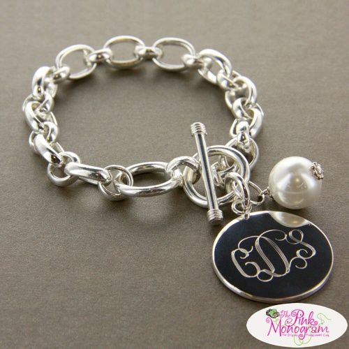 Monogrammed Bracelet with pearl charm Large chunky monogrammed bracelet- Silver Plated Apparel & Accessories > Jewelry > Bracelets