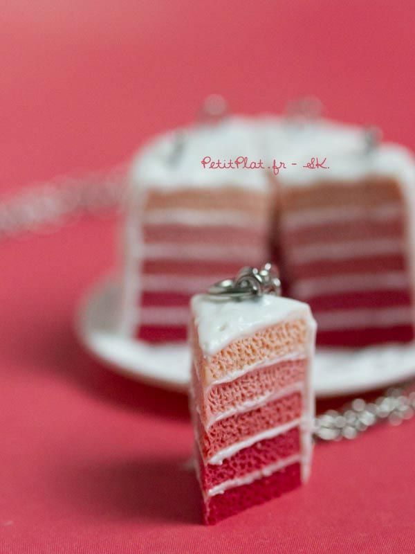 Rose layered cake, polymer miniature necklace by PetitPlat on Handmade in Europe