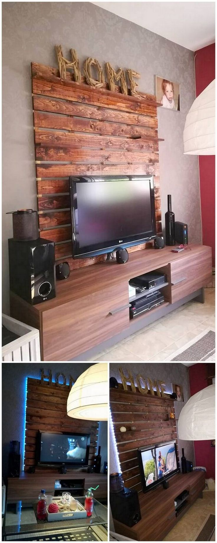 Have a look at this extraordinary designed creation of wood pallet media table stand for your house beauty! This media table TV stand is beautifully designed in the wall concepts that will bring a royal look in your house. Over the wall cladding, the wood pallet planks are customized in vertical form of plank designs.