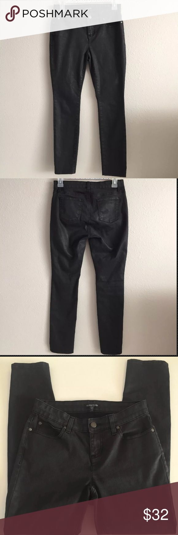 EILEEN FISHER coated black Skinny Slim jeans 2 P Good used condition. Has signs of wash and wear Eileen Fisher Jeans Skinny