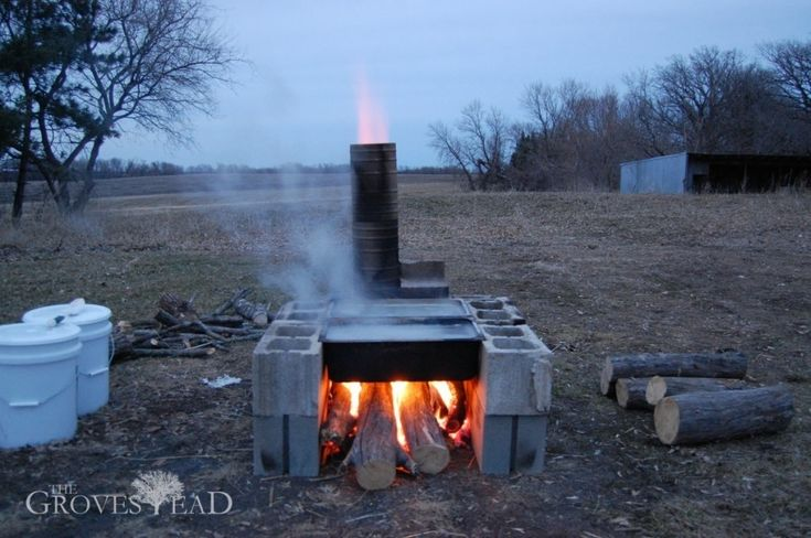 Boiling Maple Sap Over Home Built Evaporator Maple