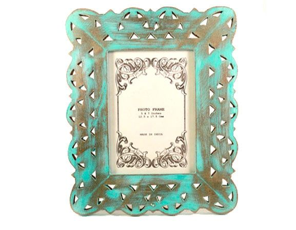 Frame of Love, a handmade, hand-painted Turqoise wooden photo frame from India available in Norway and Sweden at Gauri Arts