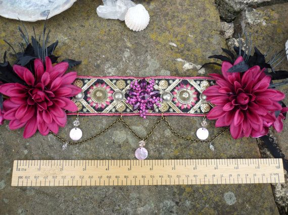 Gorgeous in Pink Tribal Headdress with Pink Flowers & Chain Detail - Tribal Belly Dance Fae Faery Festival Burning Man Hippy Chic