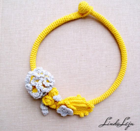 Yellow Grey necklace  Flower necklace  Yellow Grey by LindaLejn, $35.00