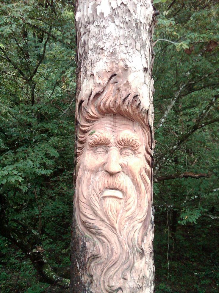 Woodspirit in live tree by artist gatlinburg tenn