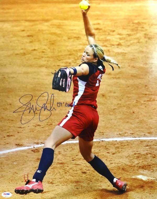 "Jennie Finch Autographed 8x10 Photo Team USA ""04 Gold"" PSA/DNA"