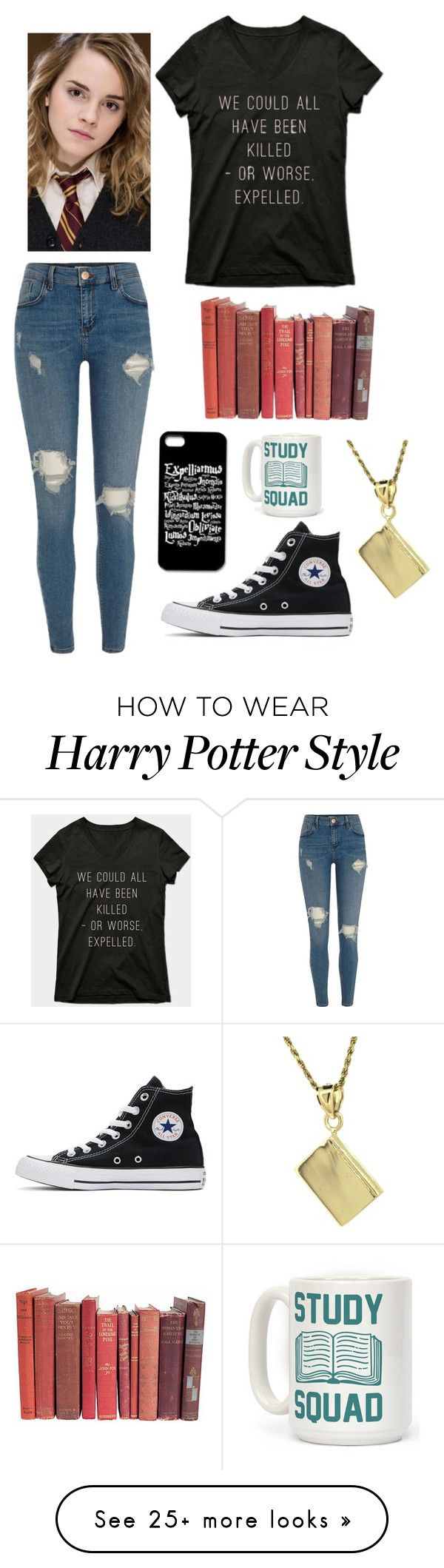 """""""Hermione Granger"""" by maia-hd on Polyvore featuring Emma Watson, River Island, Converse and Human"""