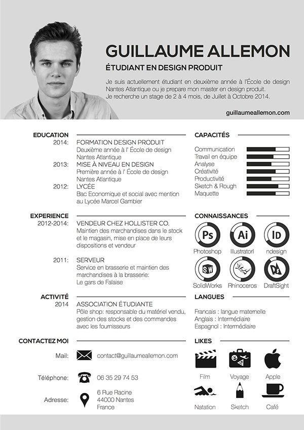 Resume On Behance Modele Cv Design Cv Creatif Cv Original