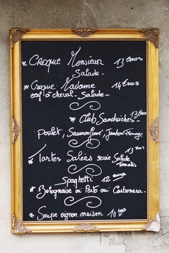 Paris kitchen photograph chalkboard menu french cafe for H kitchen paris menu