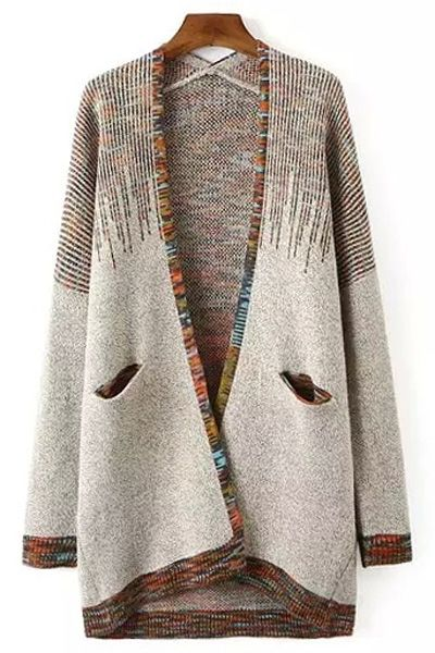Collarless Colorful Stripes Long Sleeve Cardigan