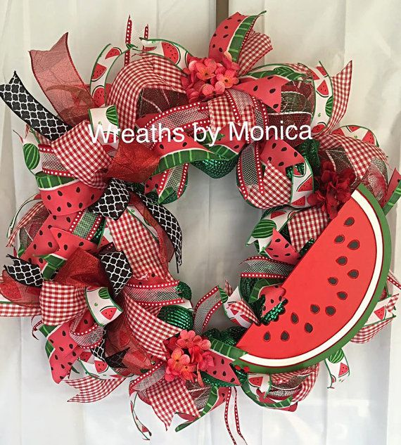 This refreshing Deco Mesh Summer Wreath will decorate your door for your summer season. Vibrant Colors will catch attention with the wooden watermelon sign and two different watermelon ribbons . All ribbon is wired to easily curl them when needed. Only one available cannot remake This is a large wreath and wont fit between a storm dorm.