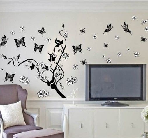 Black Butterflies And Cirrus Wall Stickers Wall Decal Removable Vinyl Wall  (040) $18