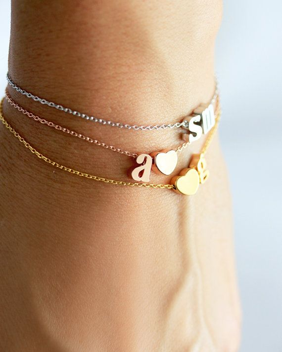Double Initial Bracelet Lowercase  Gold Silver Rose by TomDesign