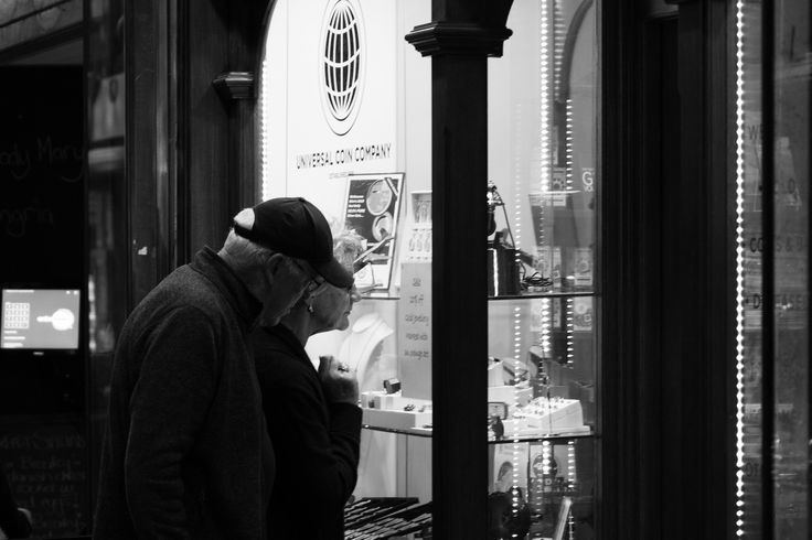 I shot this image because I like the moment the older couple were having discussing the jewellery in the window, I personally feel that I didn't expose correctly and lost detail in their faces.