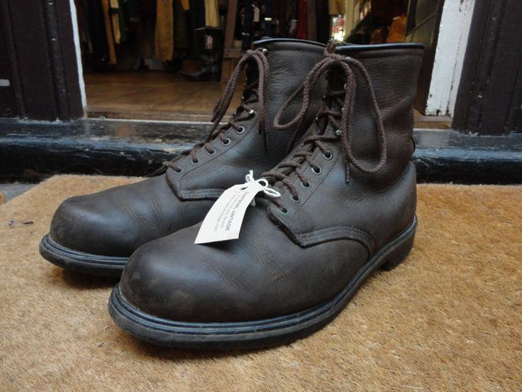 Vintage dark brown oiled leather Red Wing 1210 lace up boots workwear US 13 UK 12 wide fit made in USA by TheDustbowlVintage on Etsy https://www.etsy.com/listing/260859284/vintage-dark-brown-oiled-leather-red