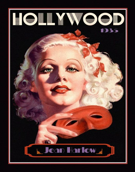 Art Deco Jean Harlow Print, Silent Screen Icon, Hollywood Glamour Portrait…