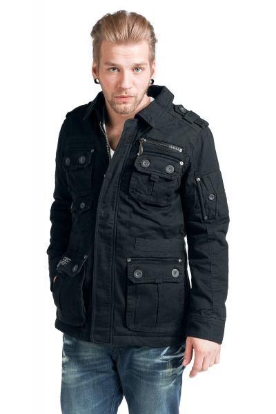 Esclusiva giacca del brand #Brandit di cotone con leggero effetto usurato. Decorazioni militari sulle spalle, bottoni e coulisse in vita. Con molte tasche.
