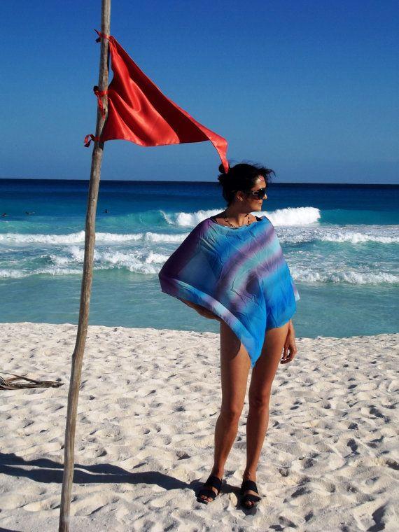 Blue Ombre Beach Poncho Chiffon Nursing Cover Multi Wear