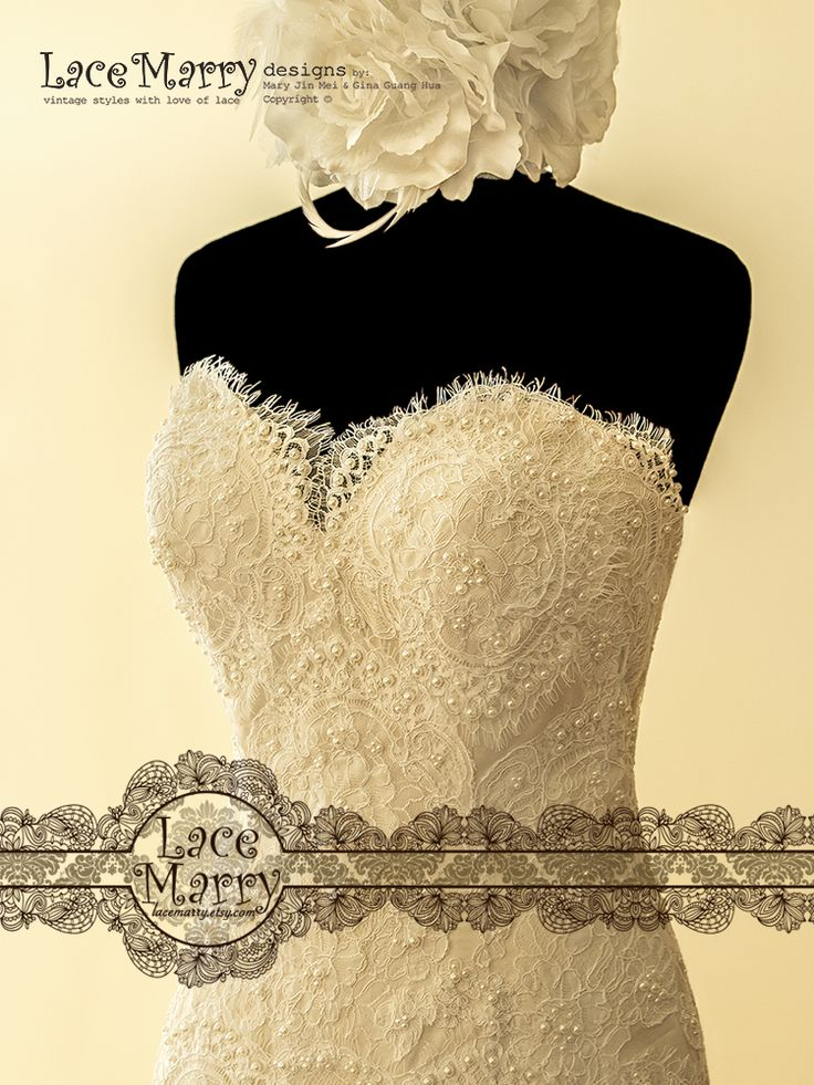 Exquisite Alencon kind of Floral Lace Applique is covering the Strapless Top! Elegant Pearl Beading is scattered all over it and each of the Pearls is stitched on by hands!
