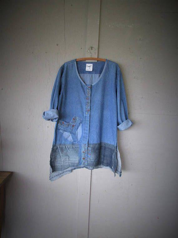 upcycled denim tunic jacket wearable art clothing recycled
