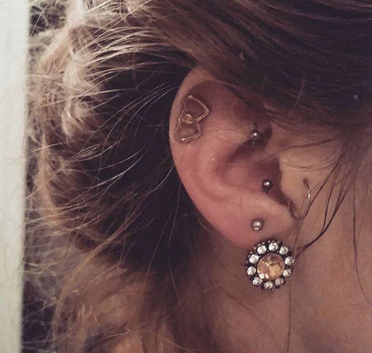 Amazing idea for ear piercing, helix rook anti-tragus tragus