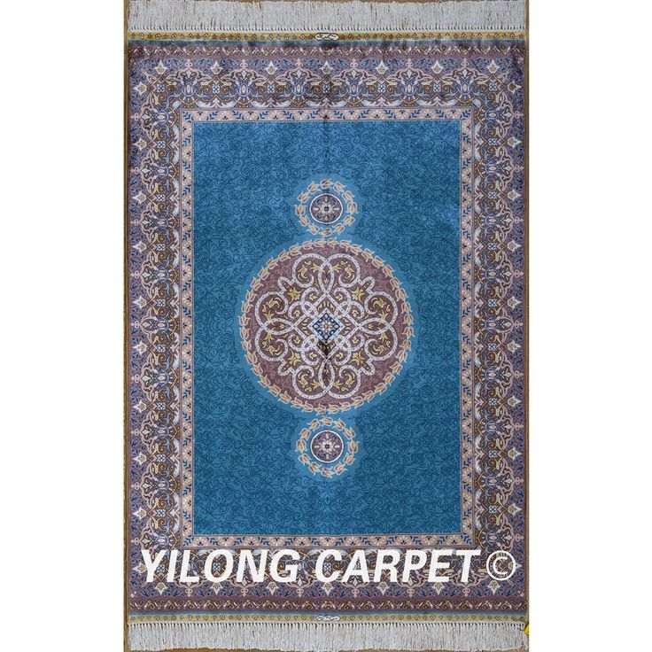 Yilong 3'x4.5' Antique hand knotted silk carpet exquisite blue antique oriental rugs for sale (0586)