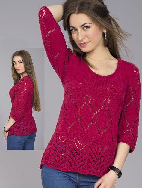 Пуловер ажурным и фантазийным узором