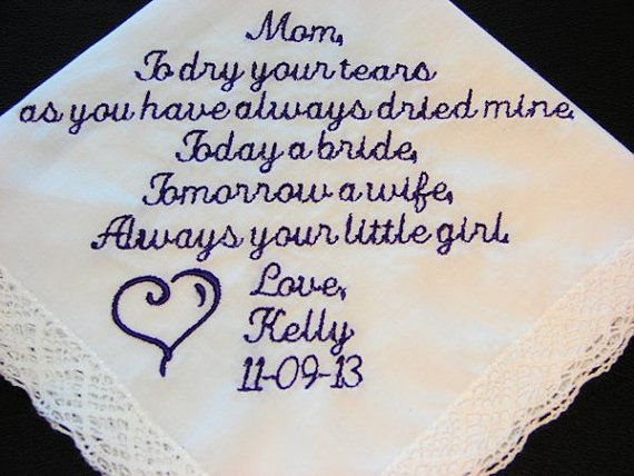 Personalized Wedding HandkerchiefCustom Mother by PassionateProse, $23.00