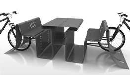 LOL bike - street furniture - Public bench with integrated cycle stand