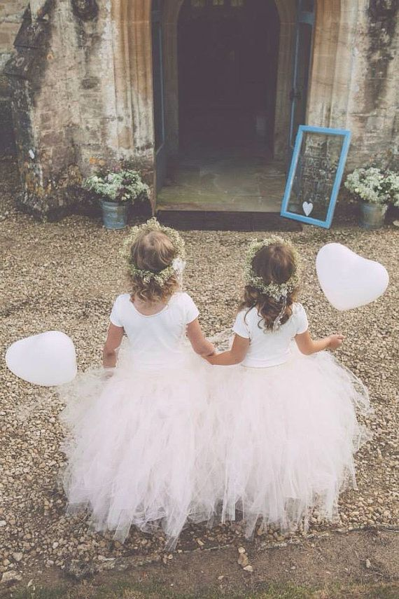 Flower girls for wedding inspiration - gorgeous tutus! Blush Pink - Flower Girl Tulle Skirt in Light Pink and Ivory - Sewn long length tutu skirt