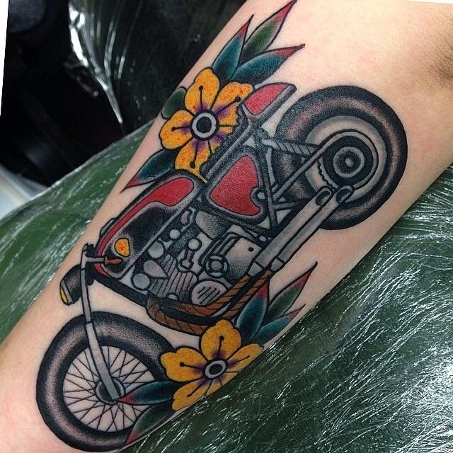 Brilliant Motorcycle Tattoo by Stephen Kelly