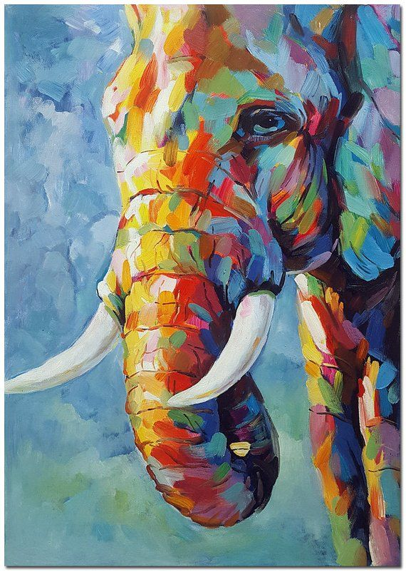Genuine Hand Painted Impressionist Elephant Oil Canvas Painting- Contemporary Multi-colored Safari Fine Art Animal WHAT BRILLIANT COLORS