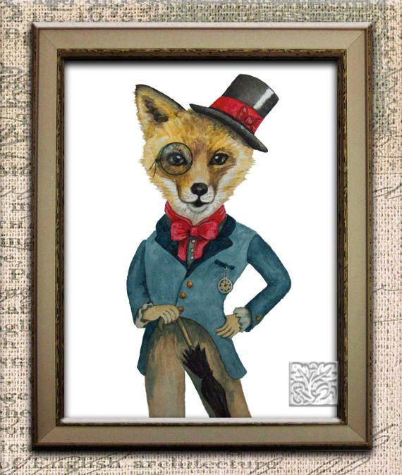 Whimsical Fox with Top Hat & brolly watercolour painting Animals with clothes Art Print or Poster Signed, original, 8 x 10 and 12 x 16 inch