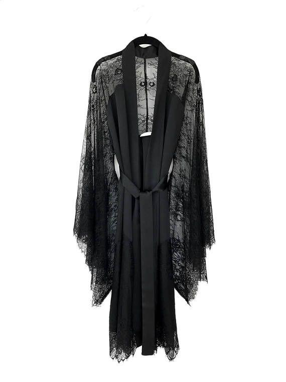 Bata kimono, negro francés cordón y puro satén de seda, traje de kimono lencería, regalos para mujeres